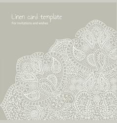 white linen brocade card template vector image