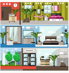 Set of luxury hotel interior flat posters vector