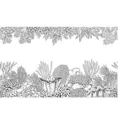 Coral reef line horizontal pattern vector