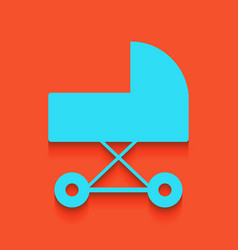 Pram sign whitish icon on vector