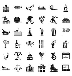 Exhibition icons set simple style vector