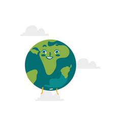 cartoon flat globe happy character vector image
