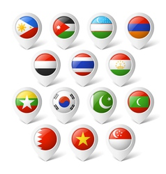 Map pointers with flags Asia vector image