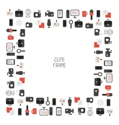 Frame of of flat colorful journalism icons mass vector