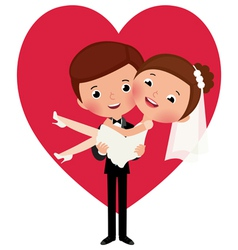 Groom holds his bride in his arms vector image