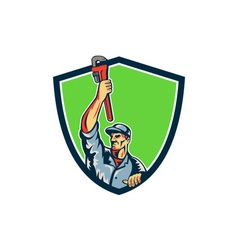 Plumber raising up monkey wrench shield retro vector