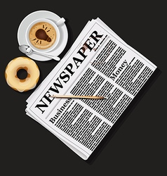 Newspaper with cappuccino cup and doughnut vector