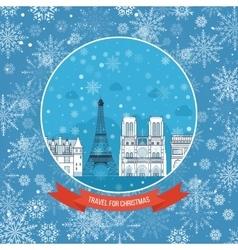 Travel to france for christmas greeting card vector