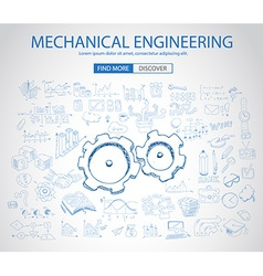 Mechanical engineering concept with doodle design vector