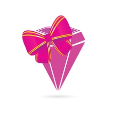 Diamond pink with bow vector
