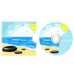 Cd label with a sea view vector