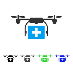 Ambulance drone flat icon vector