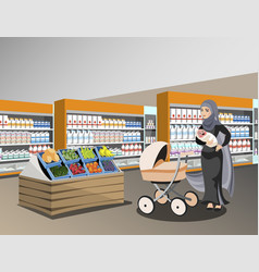 arab woman bags big shop super market shopping vector image vector image