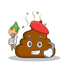 Artist poop emoticon character cartoon vector