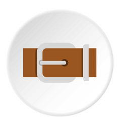 Brown elegant leather belt icon circle vector