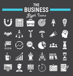 Business solid icon set finance signs collection vector
