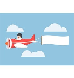 Businessman flying by the airplane with banner vector