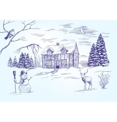 Christmas night Christmas card hand drawn vector image