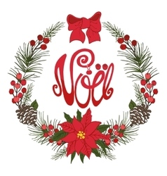 Christmasnoel greeting cardFlower fircone vector image