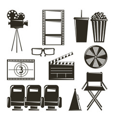 cinema movie film equipment set icons vector image