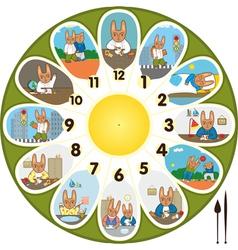 Clock Rabbit Schoolchild vector image vector image