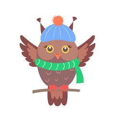 closeup of brown sitting owl vector image