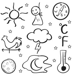 Doodle of weather set on white backgrounds vector