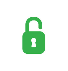 flat design style concept of green open padlock vector image vector image