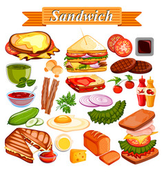 Food and spice ingredient for sandwich vector