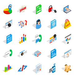 Guide icons set isometric style vector