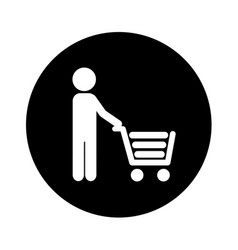 Human figure with shopping cart isolated icon vector