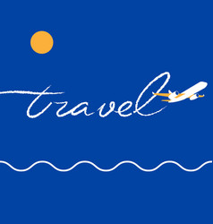 Jet airplane writing a word travel in the sky vector