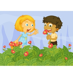 Kids picking up flowers in the garden vector