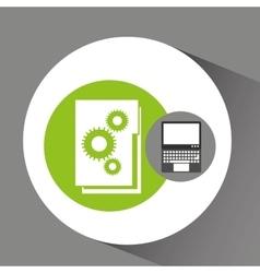 Laptop technology file folder graphic vector