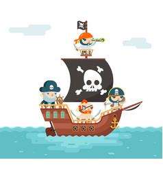 Pirate ship crew buccaneer filibuster corsair sea vector