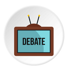 Retro tv with debate word on the screen icon vector