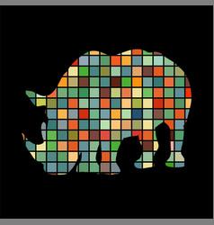 Rhinoceros mammal color silhouette animal vector