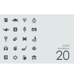 Set of hanukkah icons vector