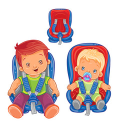 Small children in car seats vector