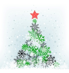 snow feer-tree with red star vector image vector image