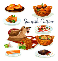 Spanish cuisine dinner menu poster design vector