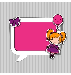 Speech bubble with sticker kawaii doodles vector image vector image