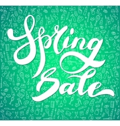 Words spring sale brush lettering vector image