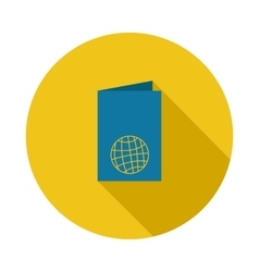 Blue passport icon in flat style vector