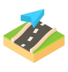 Pointer on road map icon cartoon style vector