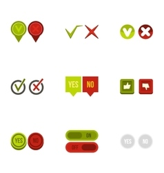 Yes no choice icons set flat style vector