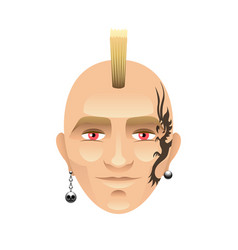 Man with mohawk and tattoos isolated on white vector