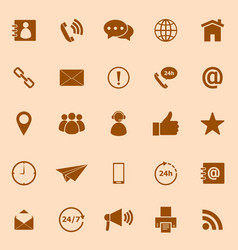Contact us color icons on orange background vector