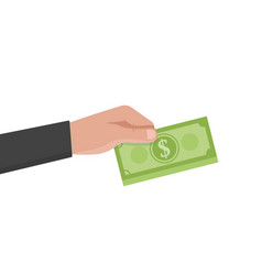 Businessman hand holds a stack of green dollars vector