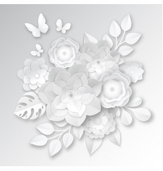 White paper flowers composition card vector